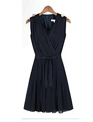 Carmell Frauen Europäische Und Amerikanische Mode Stitching Plissee Kleid (Dark Blue)