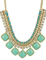 Women's Statement Necklaces Alloy Gem Fashion Statement Jewelry Orange Yellow Green Blue Pink Jewelry Daily 1pc