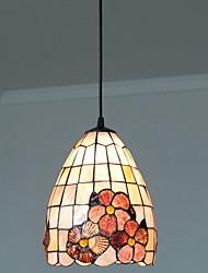 80W artistique Tiffany lumière pendante avec Colorful Nature Matériel de Shell Shade intégré en papillon et Sakura modèle