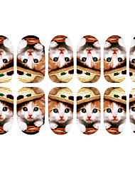 12PCS Adorável Usar chapéu de Arte Padrão Kitten unhas Luminous Stickers