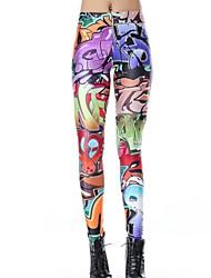 Elonbo Color Strange Letters Style Digital Painting Tight Women Leggings