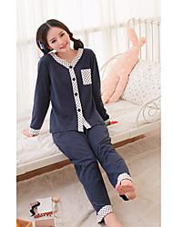 Женская круглым воротом горошек пижама