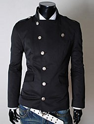 Men's Long Sleeve Casual Jacket,Cotton Blend Solid Black / Gray / Beige / Tan
