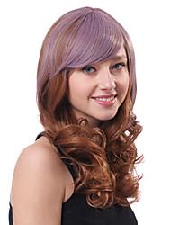 Capless Long Mixed Color Wave Heat-Resistant Fiber Wigs Side Bang