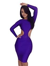 Women's Solid Black/Purple/Yellow Dress , Sexy/Party/Bodycon Crew Neck Long Sleeve Backless