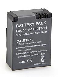 2 PCS de alta capacidade (1600mAh) AHDBT-301 Vá pro recarregável Bateria Digital para GoPro HD Hero 3 e 3 + Para Go Pro