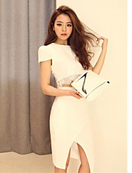Women's Lace Splicing Bodycon Dress Suits(Blouse+Skirt)