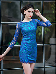 TS Bow Back Long Sleeve Lace Dress