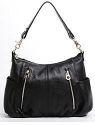 Maga Women's Solid Color Genuine Leather Zipper One Shoulder/Crossbody  Bag (Black)
