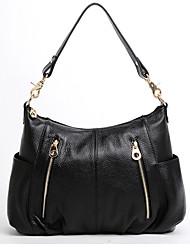 Cor Genuine Sólidos Couro Maga Mulheres Zipper um ombro / Crossbody Bag (preto)