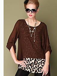 Women's Leopard Black/Brown Shirt , Casual/Work/Plus Sizes Round Neck ½ Length Sleeve