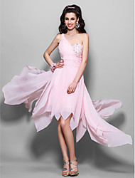 TS Couture Cocktail Party Homecoming Prom Dress - High Low A-line Princess One Shoulder Knee-length Asymmetrical Chiffon withBeading
