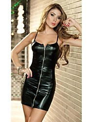 Women's Sexy Strap Club Patent Leather Dress with T Pant