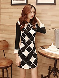 Women's Work Cute Dress,Check Mini Long Sleeve Spring / Fall