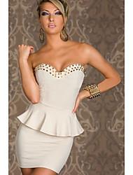 Crystina Women's Elegant Rivet Bateau Dress
