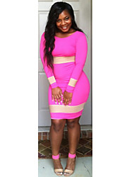 ToproS M L Plus Size  Sexy Long Sleeve Bodycon Bandage Dress Hot Pink Casual Dress TY0(pink)