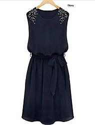 GNB Vrouwen New Fashion Kralen mouwloze chiffon jurk (Screen Kleur)