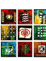 Dipinta a mano astratta moderna pittura a olio con telaio allungato Set di 9