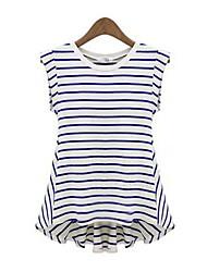 Kvinnors Round Stripe Loose Blus