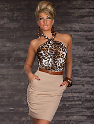 Women's Print / Bodycon Leopard Sheath Dress , Halter Midi Cotton / Chiffon