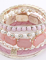 Disen Women's Fashion Multilayer Gem Braided Rope Bracelet