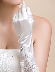 Elbow Length Fingertips Glove - Satin/Lace Bridal Gloves/Party/ Evening Gloves