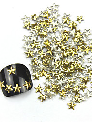 300PCS 3D Golden Five-pointed Star Alloy Nail Art Golden&Silver Decorations