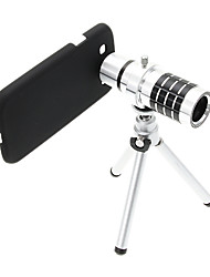 Zoom 12X Telephoto Aluminum Cellphone Lens with Tripod for Samsung S3