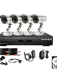 ультра низкая цена 4ch CCTV DVR Kit (4 открытых водонепроницаемых 600tvl цветные камеры) 1TB жесткий диск