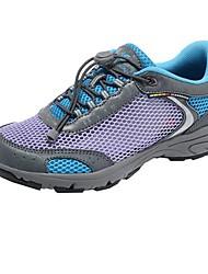 Women's Spring Summer Fall Comfort Nylon Outdoor Flat Heel Lace-up Blue Purple Hiking