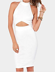 Women's Sexy / Bodycon Solid Bodycon Dress , Halter Mini Polyester