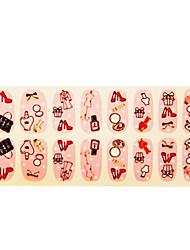 16 Pcs Longa Art Nail Etiquetas para Festa Ladies Shoes Necessidade 3D Espelho