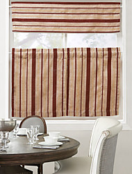 Retro Classic Red Stripe Pattern Coffee Curtain - 3 pcs
