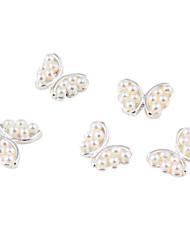 2 PCS 3D Silver alliage perle d'imitation blanche Papillon Nail Art Décorations