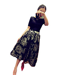 Sexy Lady Women's Korean Organza Elegant Floral Print Slim Fit Causal Dress (Pattern Randomly)(Screen Color)