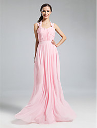 Lanting Floor-length Chiffon Bridesmaid Dress - Blushing Pink Plus Sizes / Petite Sheath/Column Halter