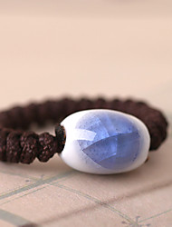 Blue and white Simple All Match Ceramic Pinkie Ring(Blue)