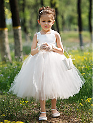 Ball Gown Tea-length Flower Girl Dress-Satin / Tulle Sleeveless
