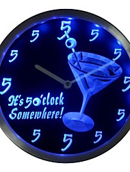 It's 5 O'clock Somewhere Cocktails Bar Beer Gift Neon LED Wall Clock (nc0459)