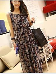 Women's Flower Print Beach Chiffon Maxi Dress