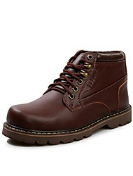 Men's Spring Fall Winter Combat Boots Leather Outdoor Low Heel Lace-up Black Brown