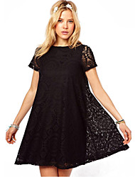 Simple Bateau A-Line Black Lace Loose Fit robe de Maxlove femmes