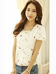 Women's Print Black/Pink/White Blouse , Round Neck Short Sleeve