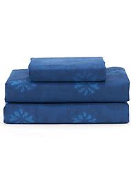 """Juego de sábanas ,4-Piece microfibra floral azul oscuro con 12 """"Profundidad de bolsillo"""