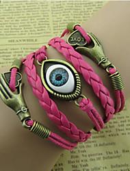 shixin® olho moda peru com amor na mão 20 centímetros pulseira envoltório liga das mulheres (1 pc)