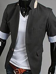 GEZI Men's Simple 3/4 Sleeve Solid Color Slim Blazer(White,Black,Blue,Orange)