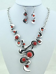 Ensemble de bijoux Alliage Imitation de diamant Mode Rouge Set de Bijoux Soirée Occasion spéciale Anniversaire QuotidienColliers