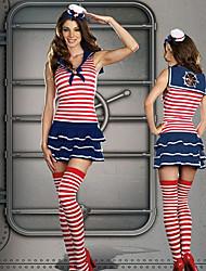 Cute Padrão Stripes Red Girl uniforme da marinha