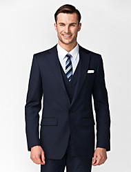 Suits Tailored Fit Notch Single Breasted One-button 3 Pieces Dark Blue Straight Flapped