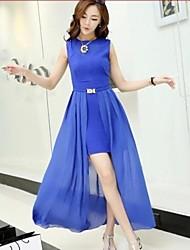 Nuevo estilo de la mujer atractiva delgada Hollow Jag Volver vestido de dos piezas